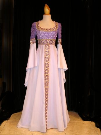 White and Violet medieval dress .