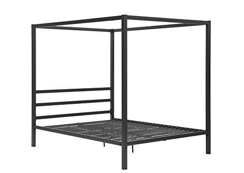 DHP Modern Metal Framed Industrial Canopy Bed Frame, Quee