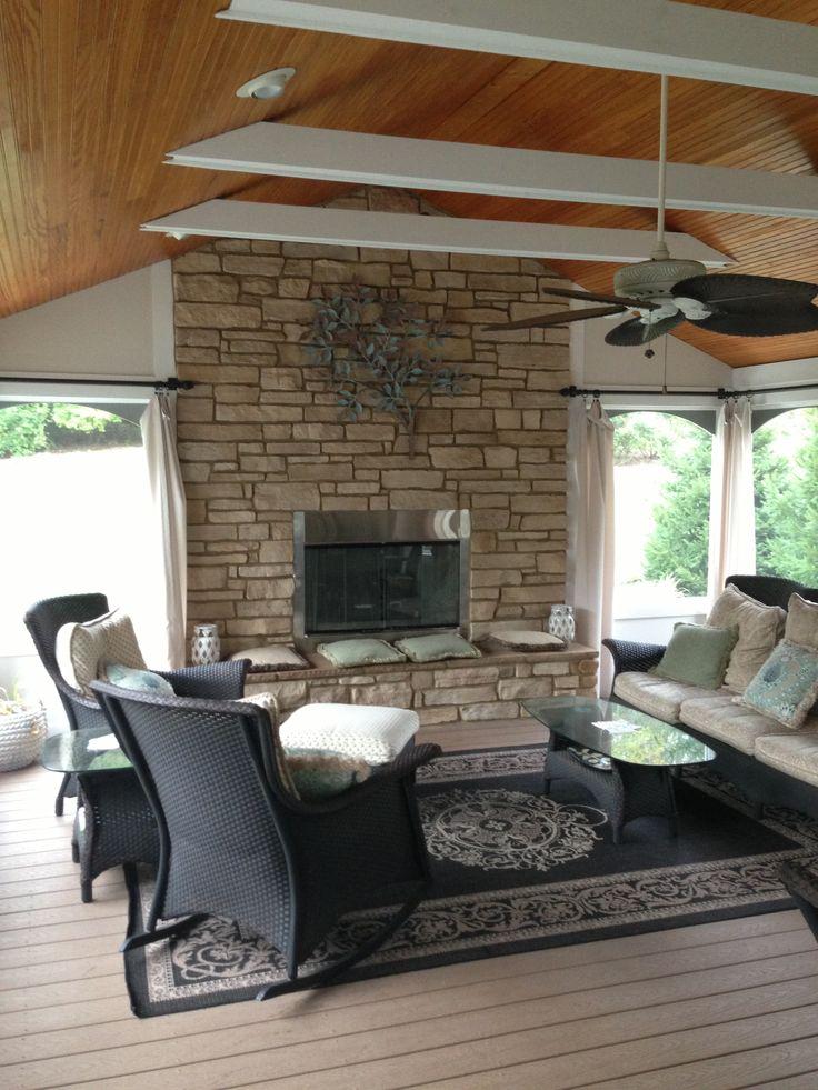 Wonderful three season room with fireplace outdoor for Four season rooms with fireplaces