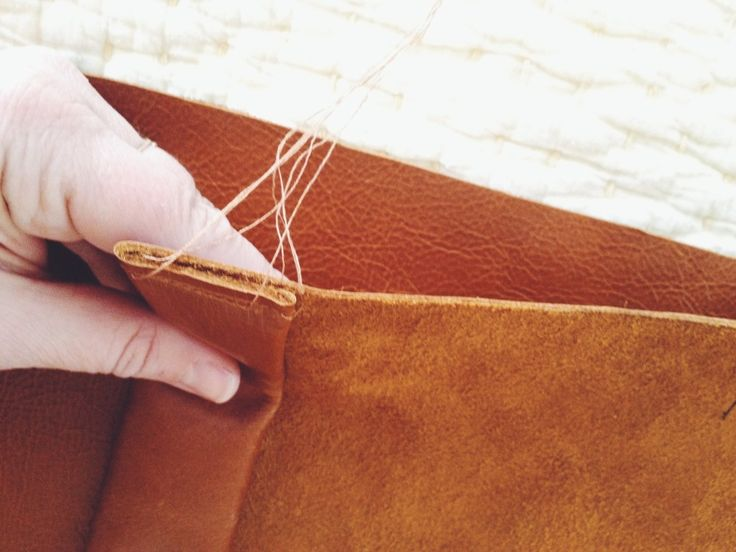 sewing a double hemmed leather pillow