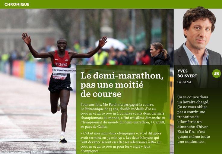 Pour une fois, Mo Farah n'a pas gagné la course. Le Britannique de 33ans, double médaillé d'or au 5000m et au 10000m à Londres et aux deux derniers championnats du monde, a fini troisième dimanche au Championnat du monde du demi-marathon, à Cardiff, au pays de Galles.-«C'était m