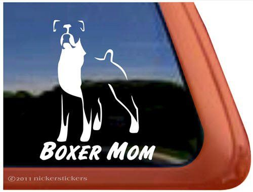 Boxer Car Window Mural Decal, Boxer Mom, Organic Pet World Dog Art Collectables