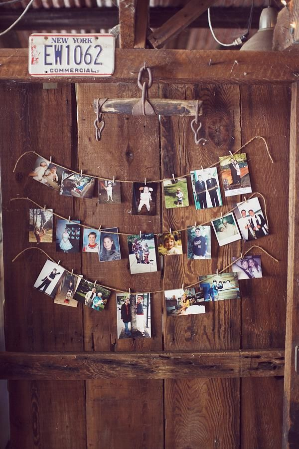 simply DIY rustic wedding photo display ideas