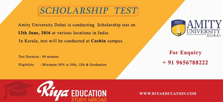 Amity University Dubai: Announces Scholarship Test 2016 for Indian Students. For more details get in touch with Riya Education. #study abroad # higher education