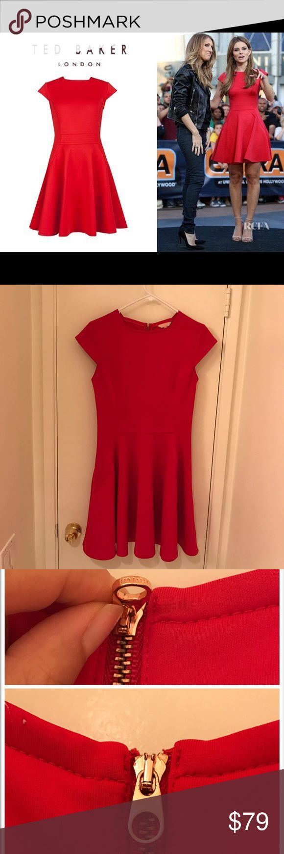 Ted Baker Red Dress Very beautiful red dress from Ted Baker,  I only wore 2-3 times. It's a U.K. Size 2, so it's good for US size 4-6. The instead of zipper head has a little black metal stain, but the outside side is perfect, comes with the original dust bag Ted Baker Dresses