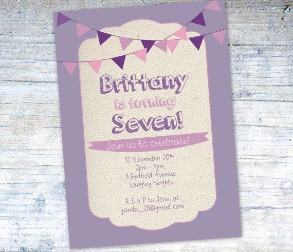 Printable Birthday Invitation, Pink and Purple Bunting, pink and purple birthday, invite, invitation, birthday girl, vintage birthday invite on Etsy, $18.00