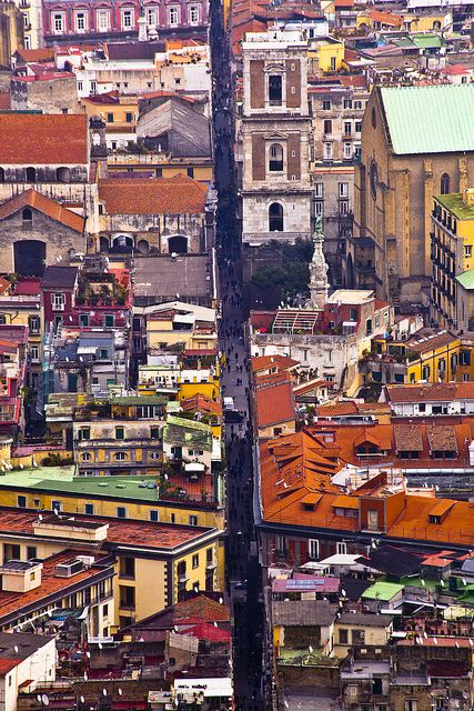 A view down the famous street Spaccanapoli in the old part of Naples, Italy