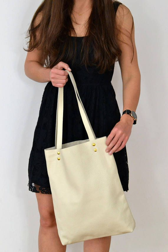 BEIGE TOTE Bag Leather Tote  Women Leather Laptop Bag