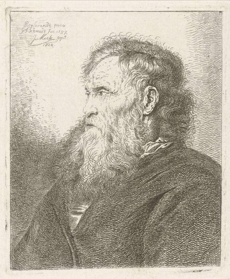 Oude man met baard, Johannes Mock, Georg Friedrich Schmidt, Rembrandt Harmensz. van Rijn, 1824