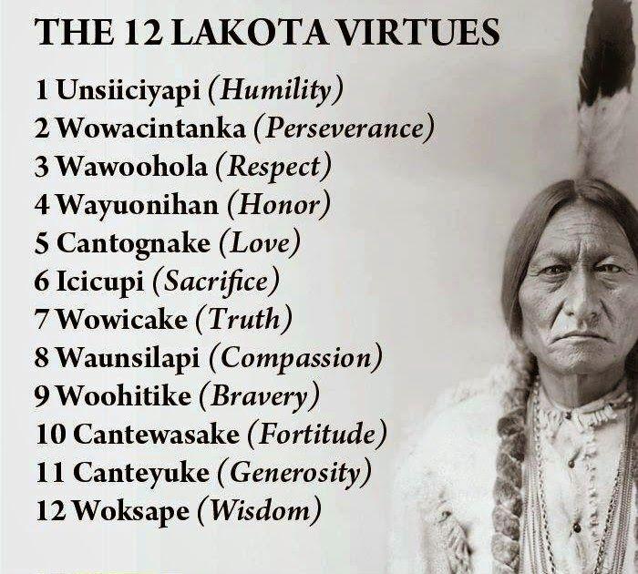 The 12 Lakota Virtues Cheat Sheet by Davidpol - Cheatography.com: Cheat Sheets For Every Occasion