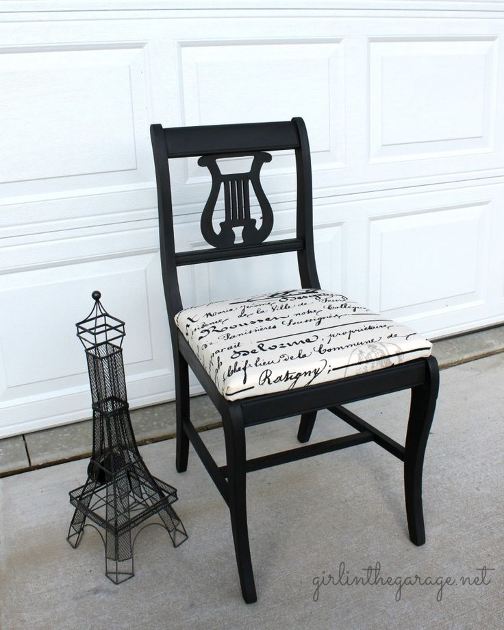 A lovely chair finished in Graphite Chalk Paint® decorative paint by Annie Sloan | By Girl In The Garage