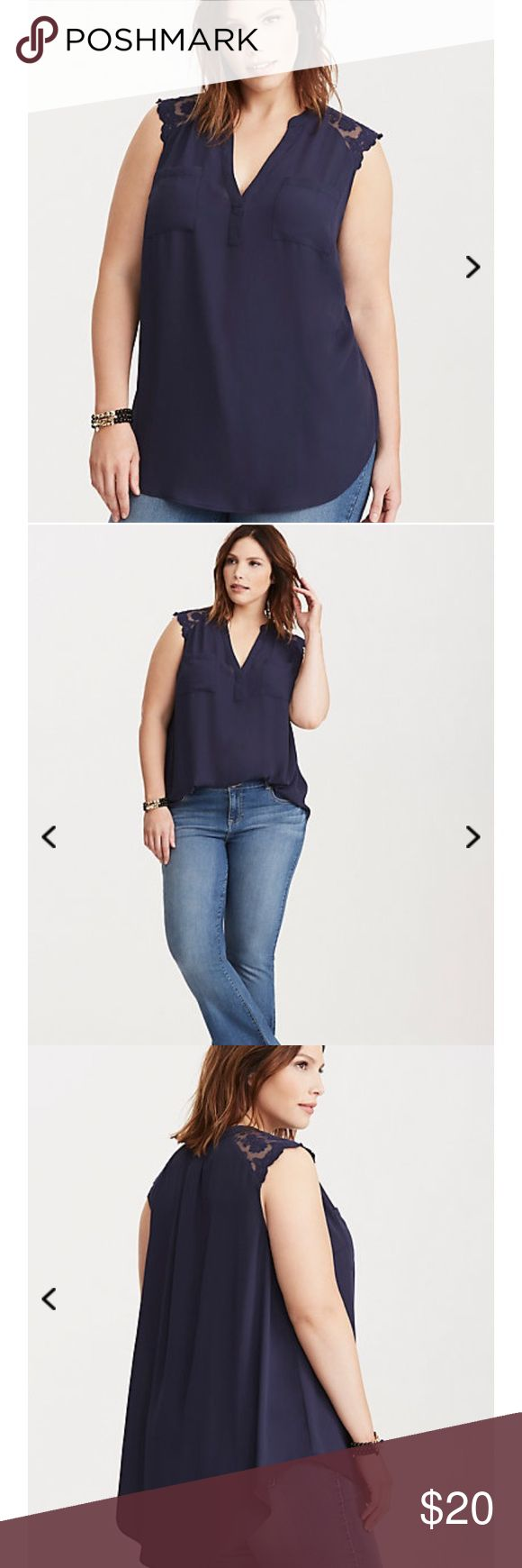 Brand New Without TagTorrid 4x Lace Inset Tank Top Our georgette tank that you love just got a way chic upgrade with embroidered mesh inset straps. A no-nonsense front placket polishes up the semi-sheer navy georgette, while the hi-lo hem creates a built-in-breeze. Pockets. torrid Tops Blouses
