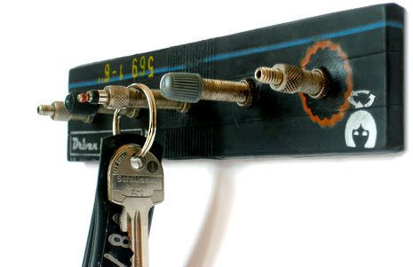 A nice way to hang up his keys with reused bicycle valves