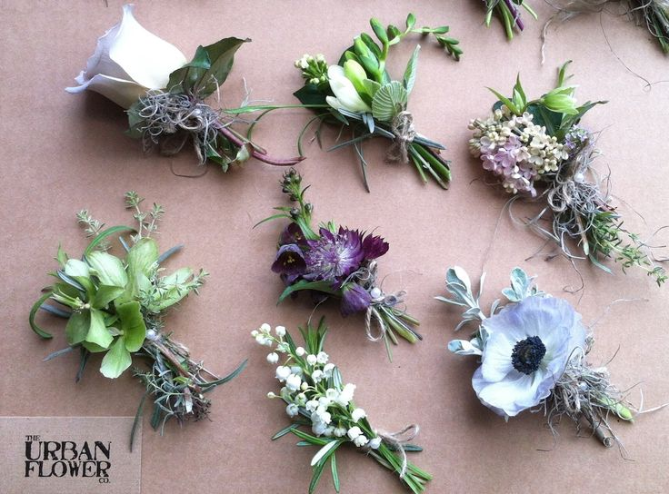 "Elegant and manly groom's buttonholes from The Urban Flower Company. For more Alternative Wedding inspiration, check out the No Ordinary Wedding article ""20 Quirky Alternatives to the Traditional Wedding""  http://www.noordinarywedding.com/inspiration/20-quirky-alternatives-traditional-wedding-part-2"