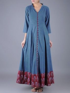 Indigo-Maroon Button Down Ajrakh Natural Dyed FlaMaroon Cotton Dress