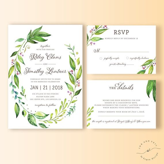 Greenery Wedding Invitation Suite Botanical Wedding by InkAndVeil