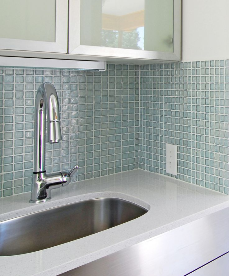 tiles recycled glass tile clear ocean 1x1 on a kitchen backsplash