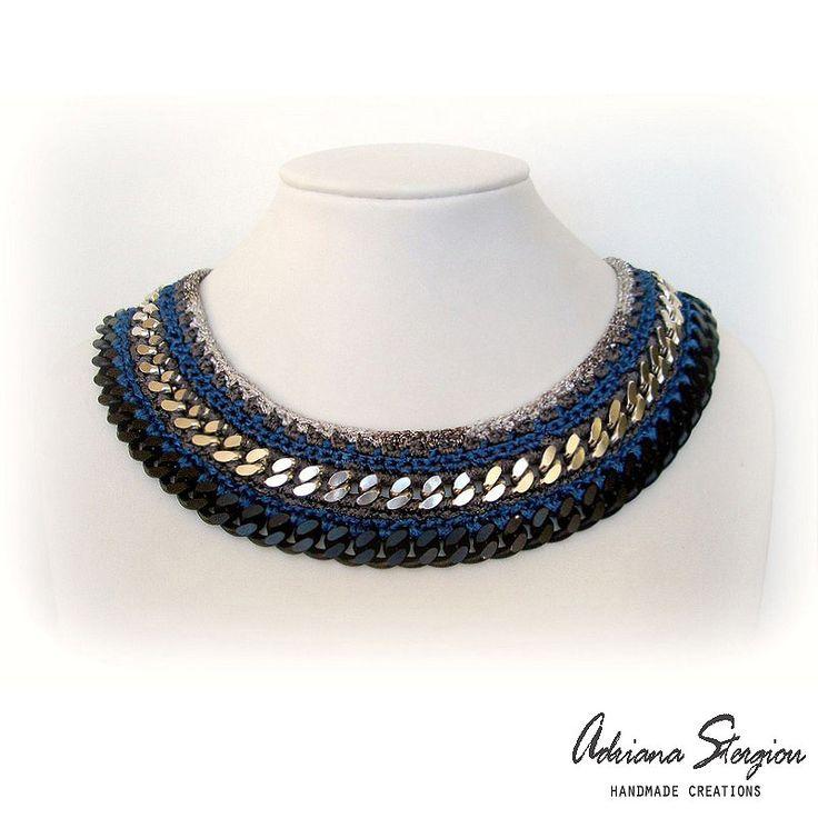 Crochet & chain necklace  www.jewelmyday.gr   #handmade #accessories #fashion #jewelry #necklace