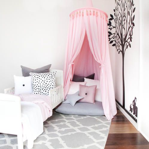 Baby Pink Canopy: Create a beautiful space for your little one with our adorable canopies. Place them over the bed for a magical place to dream at night. Or create a sweet play nook perfect for quiet time, reading, or a make believe fairy home. The canopies come with draw back ties and attach easily to the ceiling.