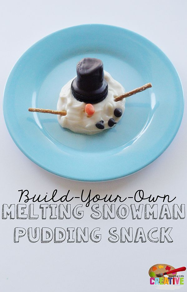 Kids love this fun build-your-own Melting Snowman Winter Snack--simple enough for an everyday snack or a winter-themed party activity.