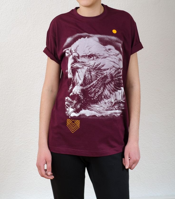 Unisex Black T-Shirt Design : Hawk