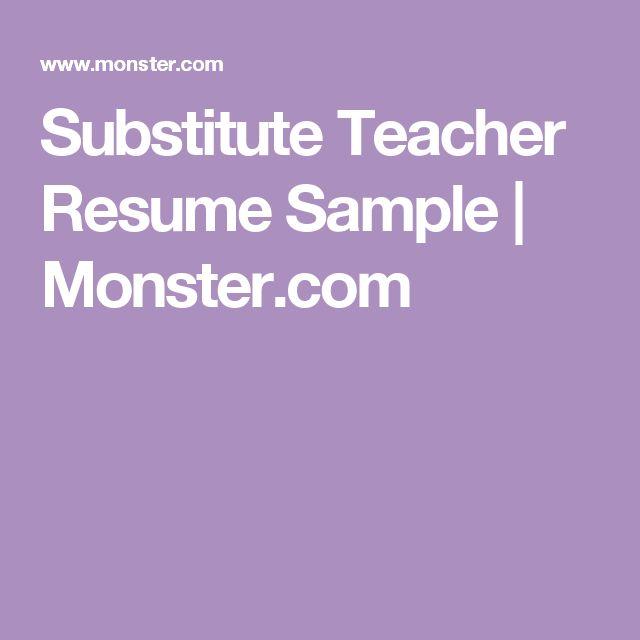 53 best Substitute teacher images on Pinterest Teaching - substitute teacher on resume