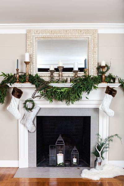 Traditional festive grey marble fireplace: http://www.stylemepretty.com/living/2016/11/16/fireplaces-thatll-make-you-want-to-buy-a-home-with-one/ Photography: Keith Morrison - http://www.keithemorrison.com/