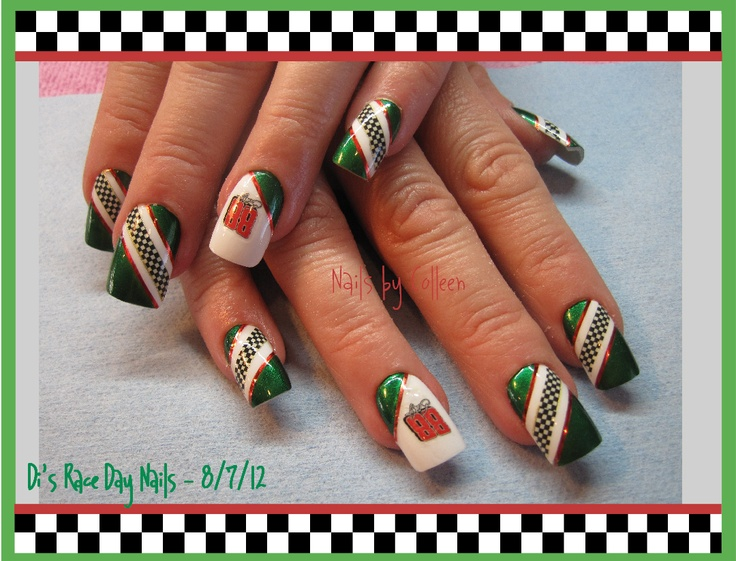 Race Day Nails. I did these for a customer going to a Nascar race.