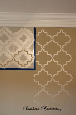 Stencil pattern idea with glossy paint same color as wall