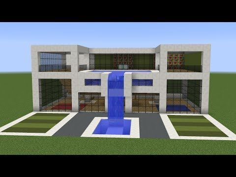 A New Tutorial On How To Build Cool Modern House In Minecraft This Building Features Rooftop Swimming Pool Waterfall And Green Spaces