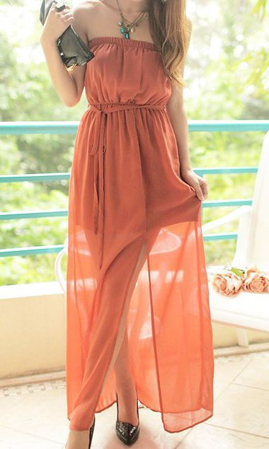 Cute Cheap Bohemian long chiffon tube dress beach dress 9875 Red - Beach Dresses Online Shopping Free Shipping