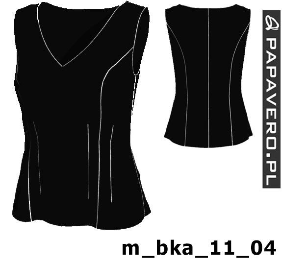 Wykrój do pobrania, prosty model bluzki na szerokich ramiączkach 32-44