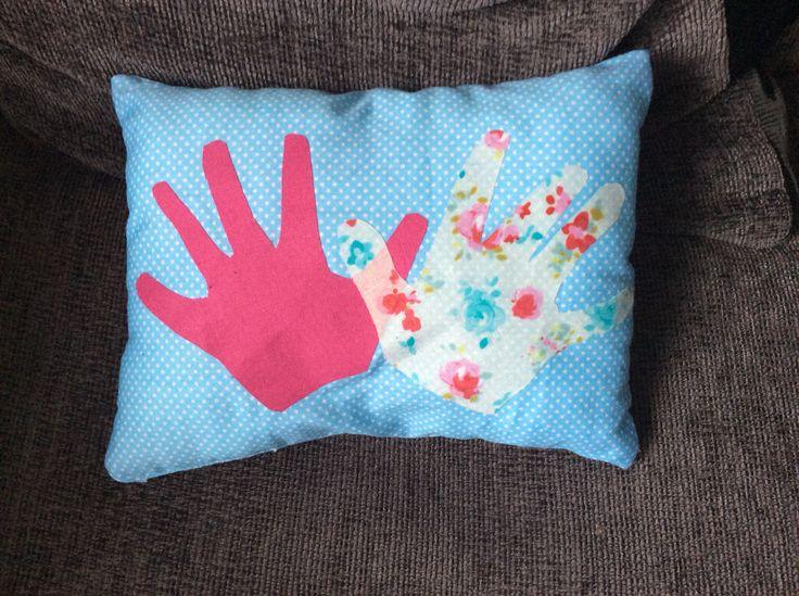 Daughter's Handprints Appliqué Cushion - March 2015