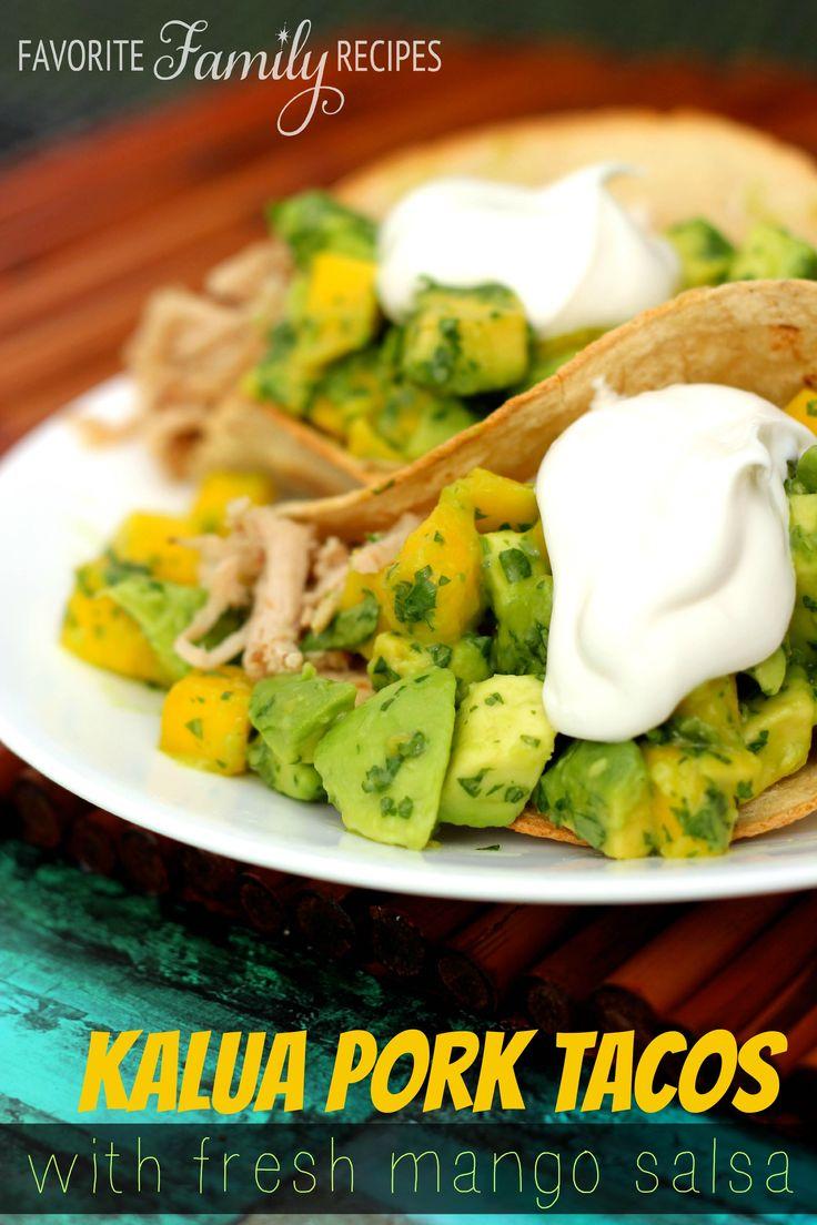 Kalua Pork Tacos With Mango Salsa from favfamilyrecipes.com  -  The most amazing flavor!