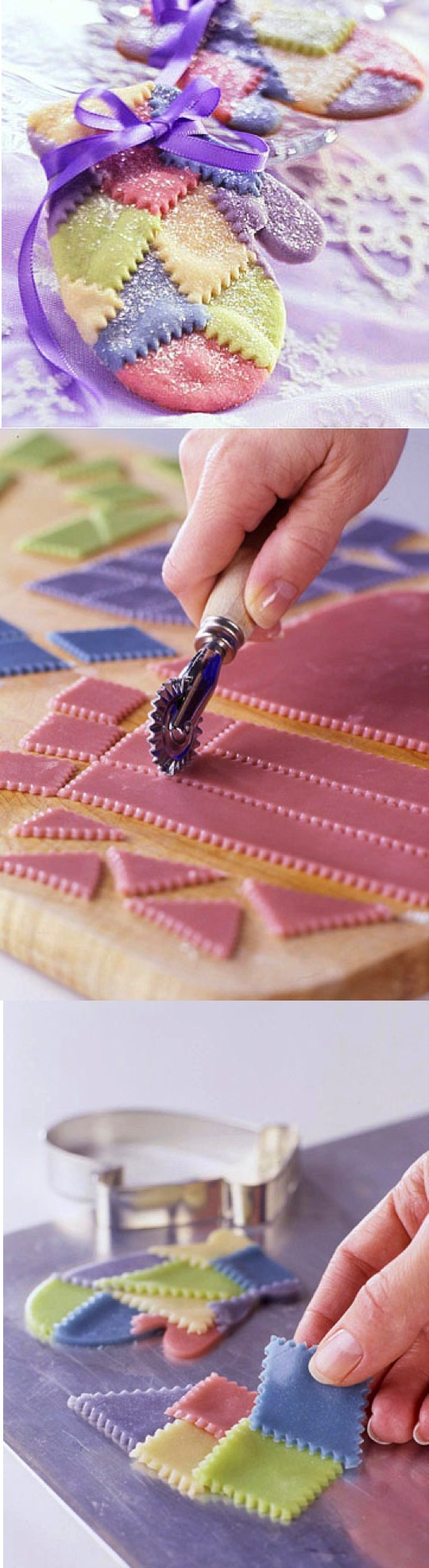 Quilted Mitten Cookies...This would also make a great craft using salt dough and some coloring: