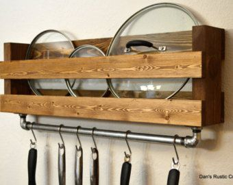 "Industrial Rustic Pot Rack Utensil Holder 24"" Cast Iron Pipe 6 hooks Light Walnut Finish"