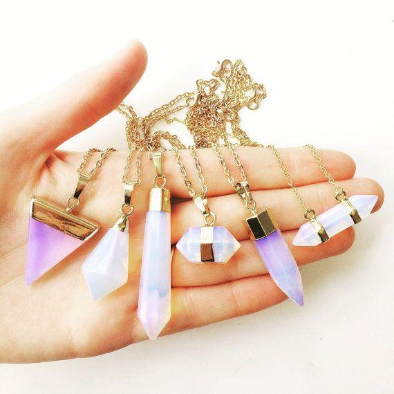50 % de réduction Opalite collier, collier de pierre gemme, Collier or, collier opale, quartz, druzy collier, collier en cristal, collier aura, lalaboho