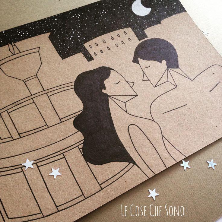 Illustrazione di una coppia di americani a Perugia. Penna su cartone. #cartone #amore #coppia #matrimonio #lecosechesono