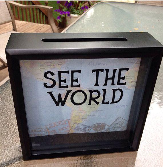 SEE THE WORLD Ticket Stub 8x8 Shadow Box 1 by CelebratingTheMoment