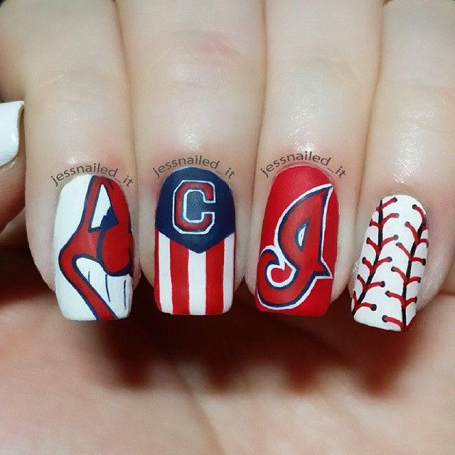 jessnailed_it cleveland indians #nail #nails #nailart