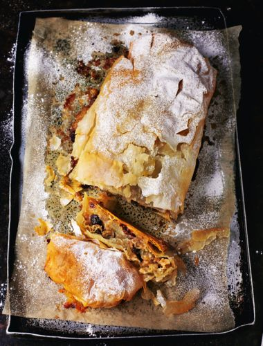 This apple strudel from Rick Stein's Long Weekends is light, tart and packed full of apple. It's perfect served warm with custard or cream – comfort food at its best!