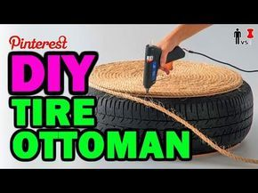 DIY Tire Ottoman - The NEW Man Vs Pin - Pinterest Test #1 - YouTube