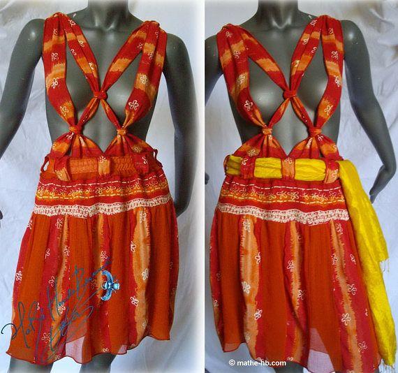 jupe d'été à bretelles fleur de soleil rouge orange