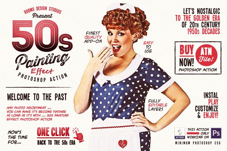 50s Painting Effect Photoshop Action by Rooms Design Shop on Creative Market