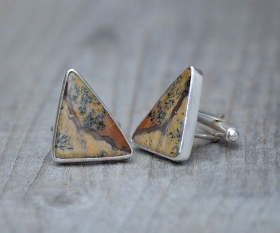 Dendritic Agate Cufflinks Set In Sterling Silver by huiyitan