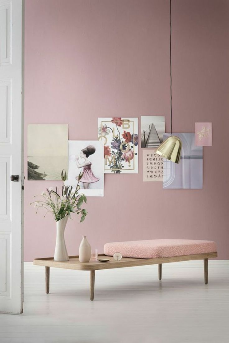 Ideal minimalistisches M beldesign Wandfarbe rosa