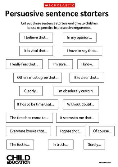 This is a sheet that contains persuasive sentence starters. Cut the sentence starters our and give to children to use while writing their persuasive sentence, or paragraph, depending on the grade level. You could use these to show how persuasive writing differs from other types of writing, and the clues that we look for in writing to tell the type of text it is.
