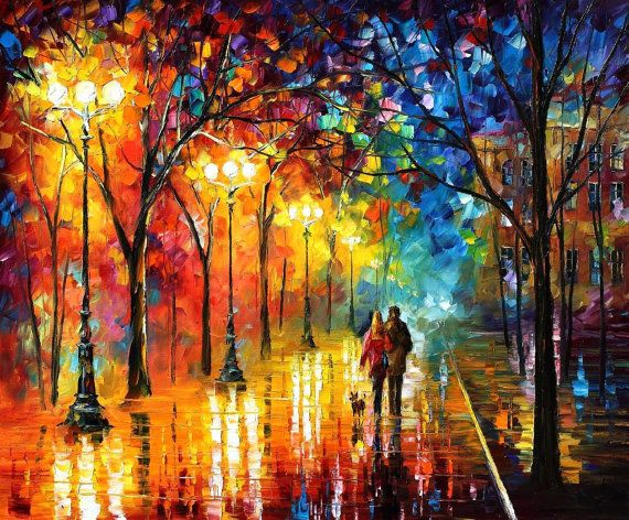 Romantic Stroll — PALETTE KNlFE Oil Painting On Canvas by AfremovArtStudio, $319.00