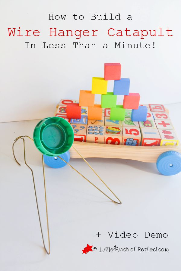 DIY: How to Build a Wire Hanger Catapult for Kids In Less Than a Minute-It's so fun to play with!