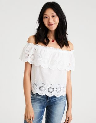 6c0271a4fd193 AE Off-the-shoulder eyelet top by American Eagle Outfitters